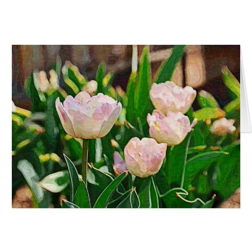 Tulipanes de la hierbabuena (Impasto) Tarjeta De Felicitación