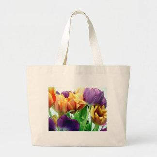 Tulipanes de la mandarina y de la lavanda bolsas lienzo