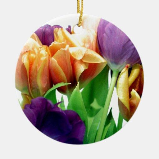 Tulipanes de la mandarina y de la lavanda ornamento para arbol de navidad