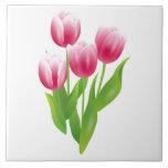 Tulipanes de la primavera. Baldosas cerámicas del  Azulejo Cuadrado Grande