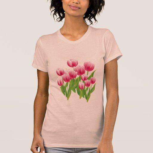Tulipanes de la primavera. Camiseta del regalo de