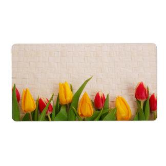 Tulipanes de la primavera etiqueta de envío