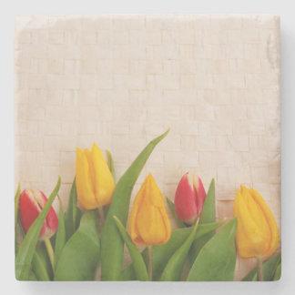 Tulipanes de la primavera posavasos de piedra