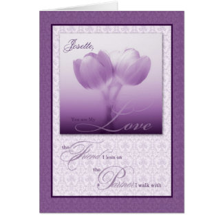 Tulipanes de la púrpura del aniversario de boda de felicitacion