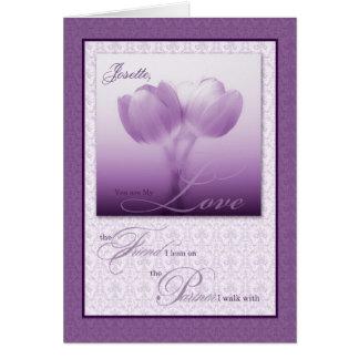 Tulipanes de la púrpura del aniversario de boda tarjeta de felicitación