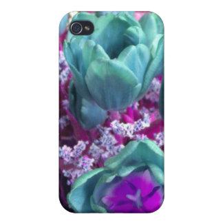 Tulipanes de la púrpura del Aquamarine N iPhone 4 Funda