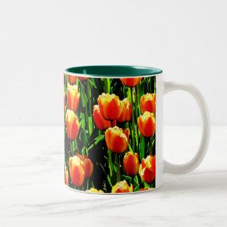 Tulipanes de la sol tazas de café