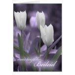 Tulipanes de la tarjeta de condolencia de la lengu