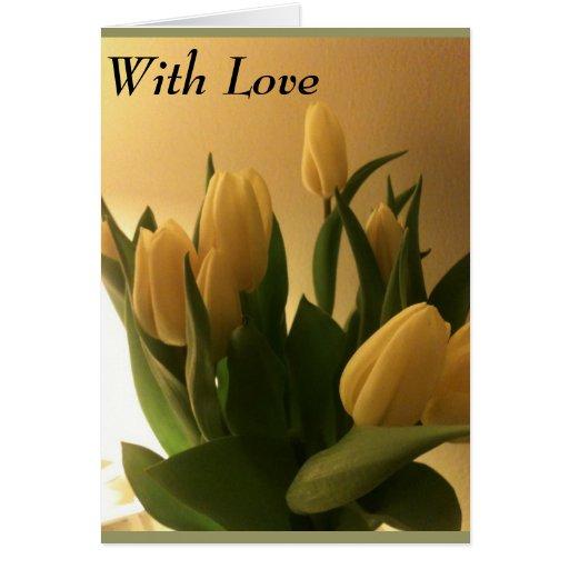 Tulipanes de la tarjeta de felicitación