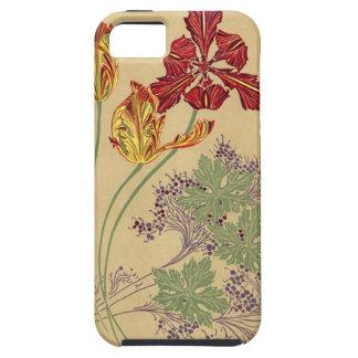 Tulipanes de Nouveau del arte del vintage iPhone 5 Case-Mate Funda