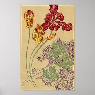 Tulipanes de Nouveau del arte - impresión Poster