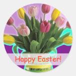 Tulipanes de Pascua - pegatinas felices de Pascua Pegatinas Redondas