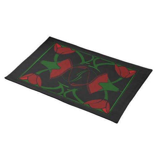 Tulipanes del art déco, Placemat rojo Mantel