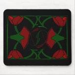 Tulipanes del art déco, rojo, mousepad alfombrilla de ratón