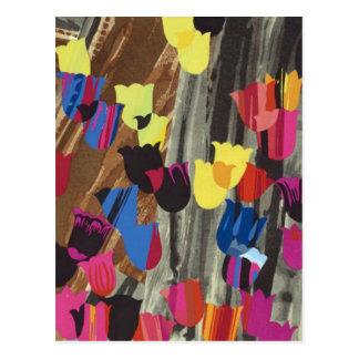 tulipanes del art déco postal