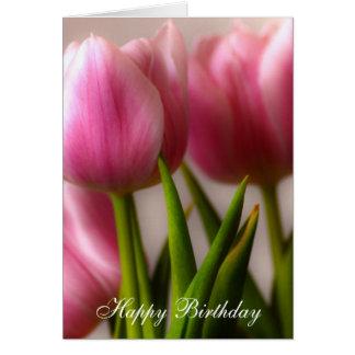 Tulipanes del feliz cumpleaños tarjeta de felicitación