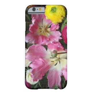 Tulipanes del loro rosados y caja blanca del funda de iPhone 6 barely there