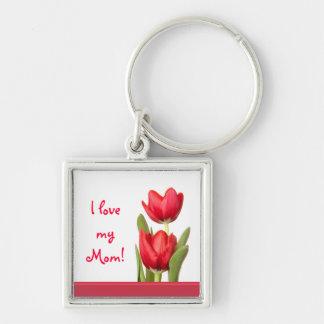 Tulipanes del rojo del día de madre llaveros
