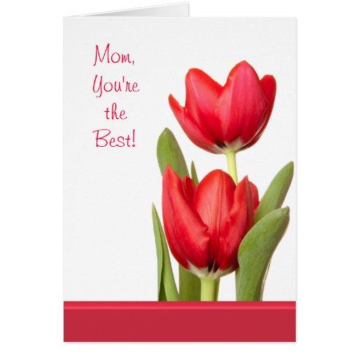 Tulipanes del rojo del día de madre tarjeta pequeña