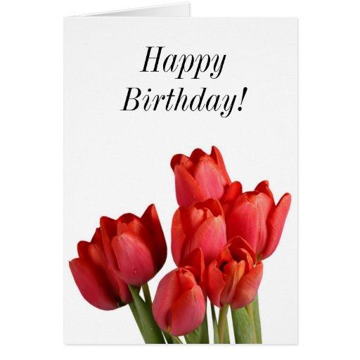 Tulipanes del rojo del feliz cumpleaños tarjetas