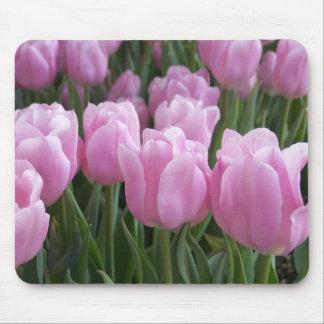 Tulipanes del rosa del cojín de ratón tapetes de raton