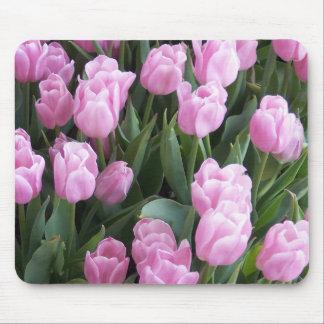 Tulipanes del rosa del cojín de ratón tapete de ratones