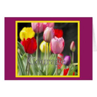 Tulipanes del valor para el enfermo de cáncer tarjetón