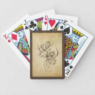 Tulipanes del vintage en beige y Brown Baraja Cartas De Poker