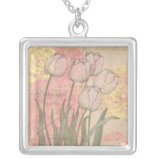 Tulipanes del vintage en fondo floral colgante cuadrado
