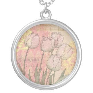 Tulipanes del vintage en fondo floral colgante redondo