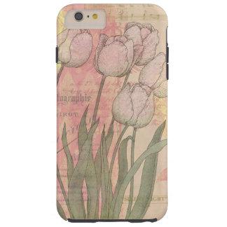 Tulipanes del vintage en fondo floral funda para iPhone 6 plus tough