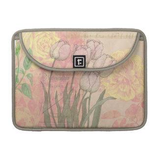 Tulipanes del vintage en fondo floral fundas macbook pro