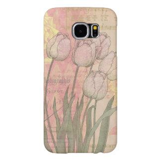 Tulipanes del vintage en fondo floral fundas samsung galaxy s6