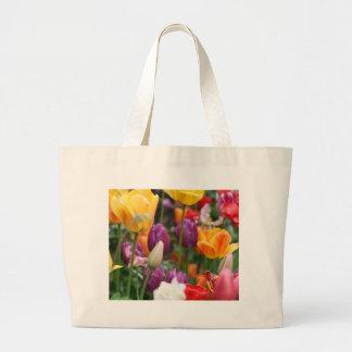 Tulipanes en bolso de la primavera bolsa tela grande