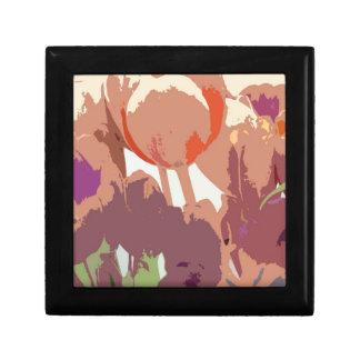 Tulipanes en caja de regalo del arte de Digitaces Joyero Cuadrado Pequeño