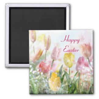 Tulipanes en colores pastel de Pascua Imán Cuadrado