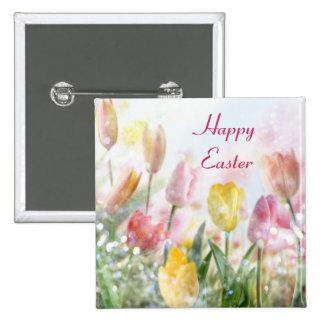 Tulipanes en colores pastel de Pascua Pin Cuadrado
