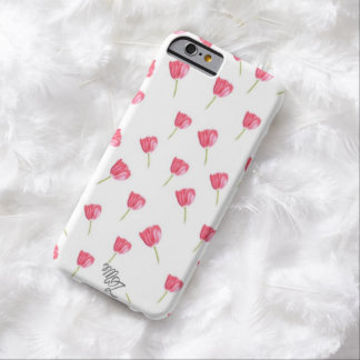 Tulipanes en colores pastel funda para iPhone 6 barely there
