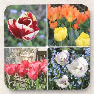 Tulipanes en el cuadrado del collage de la foto posavasos