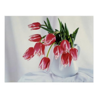 tulipanes en florero póster