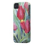 Tulipanes en rojo y rosa Case-Mate iPhone 4 carcasas