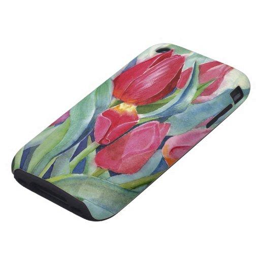 Tulipanes en rojo y rosa tough iPhone 3 cobertura