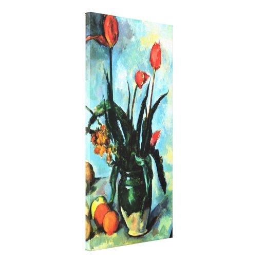 Tulipanes en un florero de Paul Cezanne, arte del