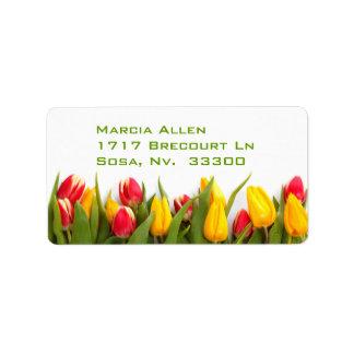 Tulipanes Etiqueta De Dirección