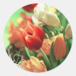 Tulipanes felices de Pascua Etiqueta Redonda