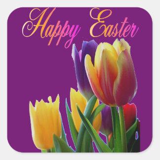 Tulipanes felices de Pascua Pegatina Cuadrada