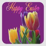 Tulipanes felices de Pascua Pegatinas Cuadradas