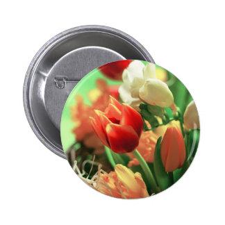 Tulipanes felices de Pascua Pin Redondo De 2 Pulgadas