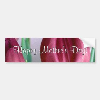 Tulipanes felices de Rosey del día de madre Pegatina De Parachoque