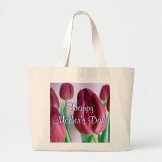 Tulipanes felices de Rosey del día de madre I Bolsa Tela Grande